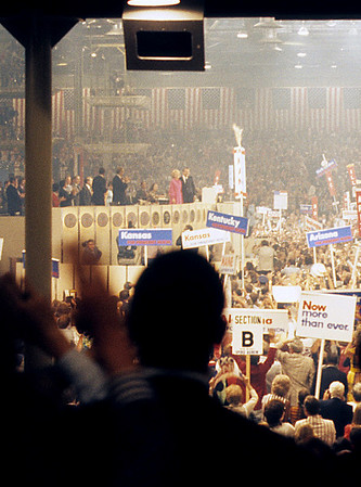 """Richard and Pat Nixon take center stage at the Republican National Convention in 1972.  The crowd chanted """"Four More Years"""" while raising their right arms in a four finger salute that was frighteningly reminiscent of the """"Hitler Salute"""", particularly when done in unison by the thousands in attendance."""